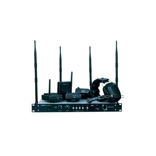 O Sistema Intercom MDS-400 WIRELESS é um Transmissor e receptor de áudio bidirecional – Trabalha com quatro comunicadores sem fio BK-2400 A estação wireless TELIKOU MDS-400 adota a frequência 2.4GHz.